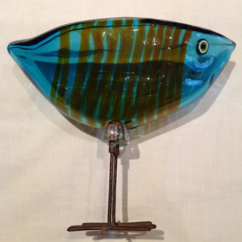 Alessandro Pianon Blue Flat Head Bird w/ Stripes  1960's - Art Glass