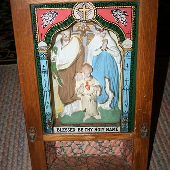 Catholic 'J,M & J' shadowbox icon~from a church?