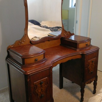 Antique Vanity Table & Mirror  w/Matching Stool