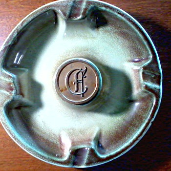 "Roseville ""Hyde Park"" Metal Monogram Ashtray /Pale Green and Brown Drip Glaze / Circa 1950"