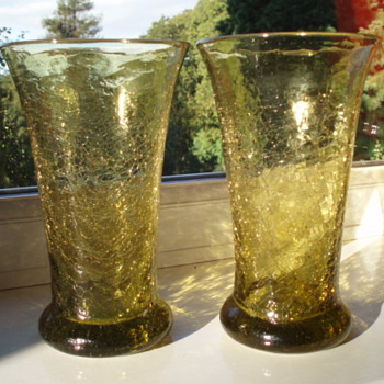 Crackle Glass Vases - Anyone recognize maker or place? - Art Glass