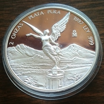 1997 2oz SILVER LIBERTAD PROOF MEXICO COIN - World Coins