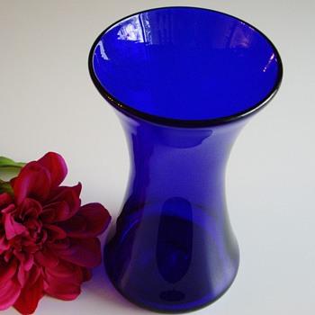 Cobalt blue hourglass vase - signed BR?