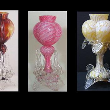 Welz Tri-lobed Heart Vases - A Marker Shape in an Abundance of Welz Décors - Art Glass