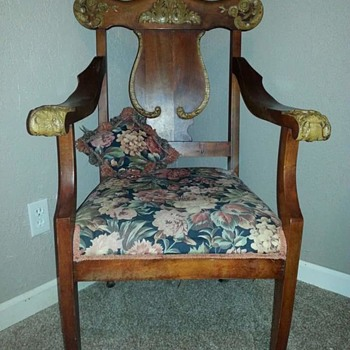 Neat chair with gothic carvings on armrest - Furniture