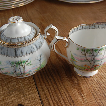 Royal Albert Silver Birch Covered Sugar Bowl and Creamer