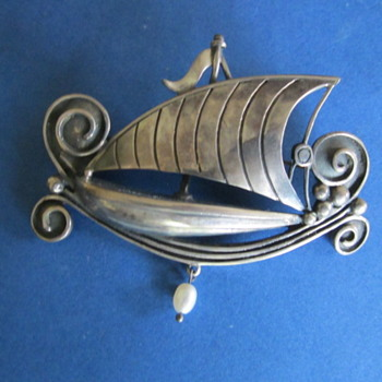ARTS & CRAFTS SILVER SHIP BROOCH STAMPED 925 WITH MAKERS MARK - Fine Jewelry