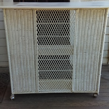 Does anyone know what this is ?? I have always thought it was an antique wicker portable bar? I was given this years ago. - Furniture