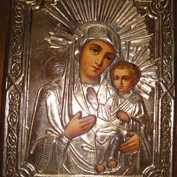 Antique Russian orthodox icon representing Madonna with child  - Victorian Era