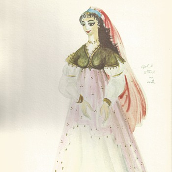 "Tanya Moiseiwitsch Designer,,Original Drawing""1955""Jessica"