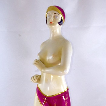 "Art Deco Enamelled Topless Flapper Woman Porcelain Figurine 14"" help!! - Art Nouveau"