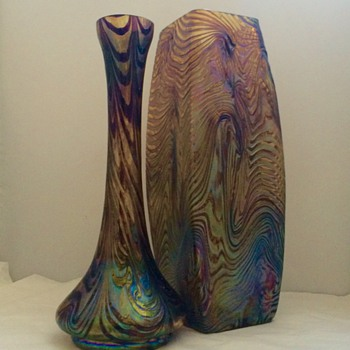 Rindskopf Pair Corrugated Purple Iridescent Wave Vases - Art Glass