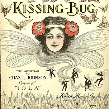 "1909 SHEET MUSIC, ""KISSING BUG"" Chas. Johnson Ragtime  Great Cover! - Music Memorabilia"