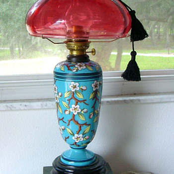 Victorian Kerosene Lamp w Heavy French Enameling - Lamps