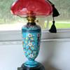 Victorian Kerosene Lamp w Heavy French Enameling