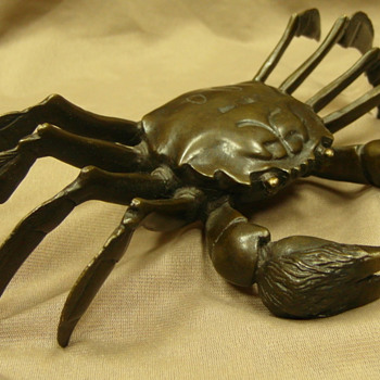 Japanese Antique Okimono Crab. Bronze - Asian
