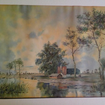 s. roberts landscape lithograph usa