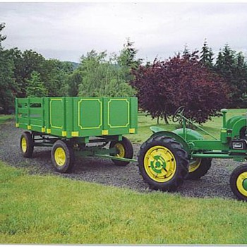 My 1941 J. D. L.A tractor,and parade wagon.