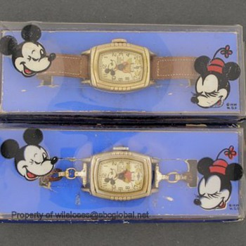 1939 Mickey Mouse His & Hers Deluxe Gold Electroplated Watches in Original Boxes - Wristwatches