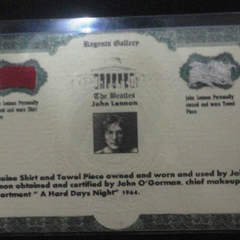 John Lennon shirt and towel piece-1964