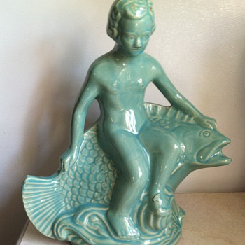 Robinson Ransbottom Boy on a Fish - Art Pottery