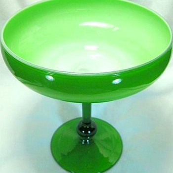 Green & White Cased Glass Compote  1960's