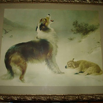 "Early 20th Century Print ""Found"" by Walter Hunt: Border Collie and Lamb - Animals"