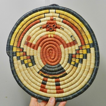 1970&#039;s Hopi Woven Plaque - Kachina Motif - Native American