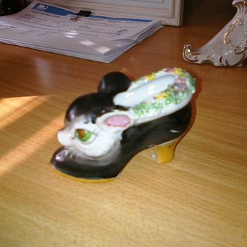 Porcelain Shoe with animal of some sort - Art Pottery