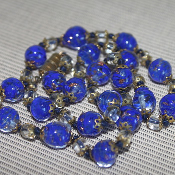 Vintage Venetian Sommerso Glass Necklace - Costume Jewelry