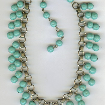 Glass or Turquoise? Vintage Book Chain Necklace