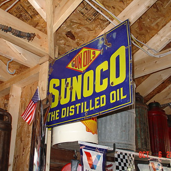  Sunoco Double Sided Porcelain Flange Sign...Three Colors - Signs