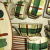 """Blair ceramics circa1949 """"Gay Plaid"""" square set"""