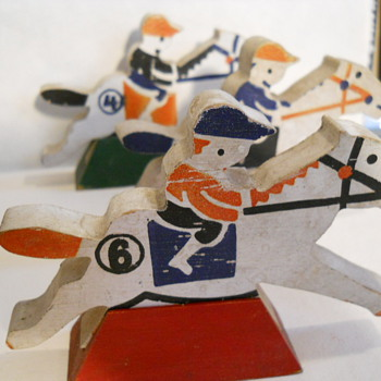 Wooden Racing Jockeys  - Folk Art