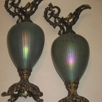 Loetz ? pair urns/pitchers ?
