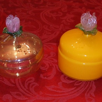 Czech glass with applied flowers - Art Glass