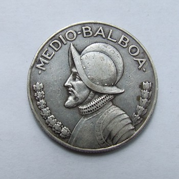 Silver Panama 1934 Medio-Balboa Coin - World Coins