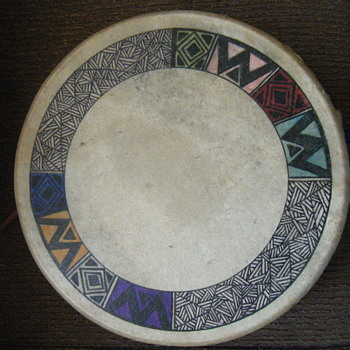 NATIVE AMERICAN DEER SKIN DRUM HAND PAINTED