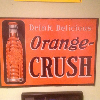 Old orange crush tin sign - Advertising