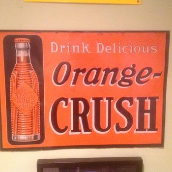 Old orange crush tin sign