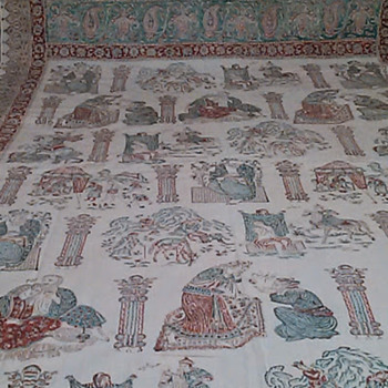 Unkown Persia or Iran Pictorial Linen Coverlet? - Rugs and Textiles