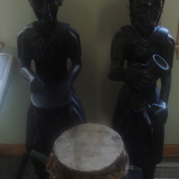 Unknown Haiti Figures and drum - 1930s - Folk Art