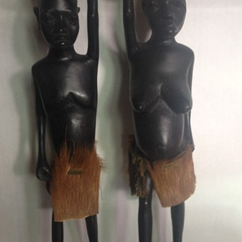 African Carved Ebony Statues Woman with Child & Boy - Folk Art
