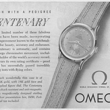 1951 - Omega Centenary Watch Advertisement - Advertising