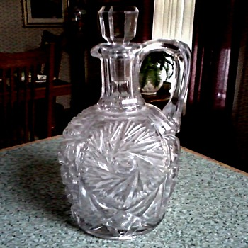 Hobstar Pressed Glass Decanter with Handle and Stopper/ Unknown Maker and Age - Glassware