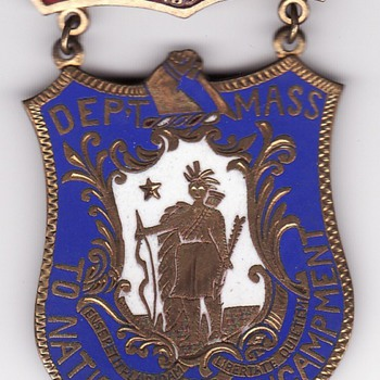 Boston GAR reunion enameled delegate badge  c. 1890 - Military and Wartime