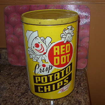 red dot potato chip tin