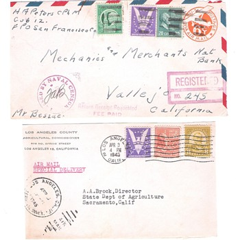Two Covers with 1942 ? Victory Stamps - Stamps