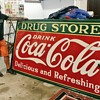 1935 porcelain Coca-Cola Drug Store monster sign.  8x4
