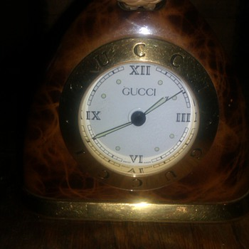 Rare GUCCI  Tortoise Shell STIRRUP DESK ALARM CLOCK